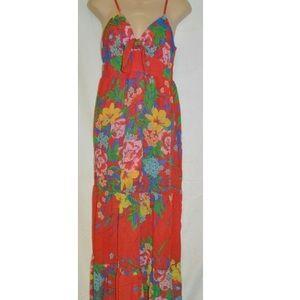 Orange floral maxi summer dress